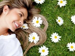 Woman in a garden of flowers