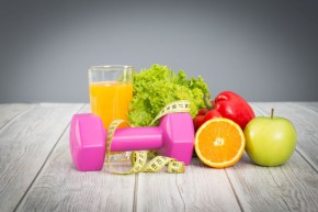 Fitness equipment and healthy food.